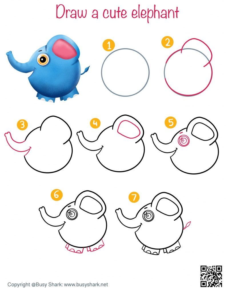 how to draw a cute cartoon elephant with it's trunk up step by step tutorial easy