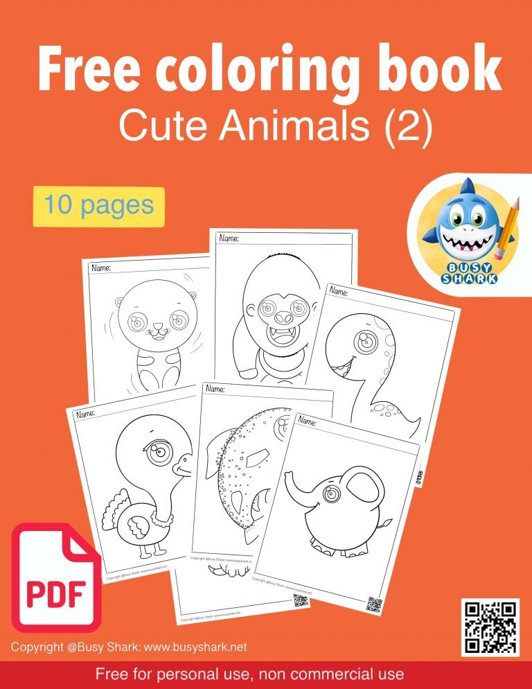 Free cute animals pdf coloring book for kids