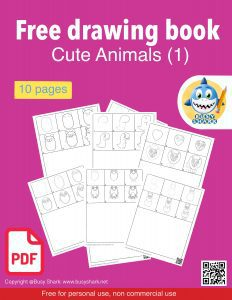 Free download cute animals drawing book includes 10 pages