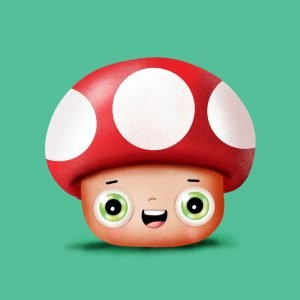 Step by step drawing tutorial . How to draw a cute Mushroom from super Mario