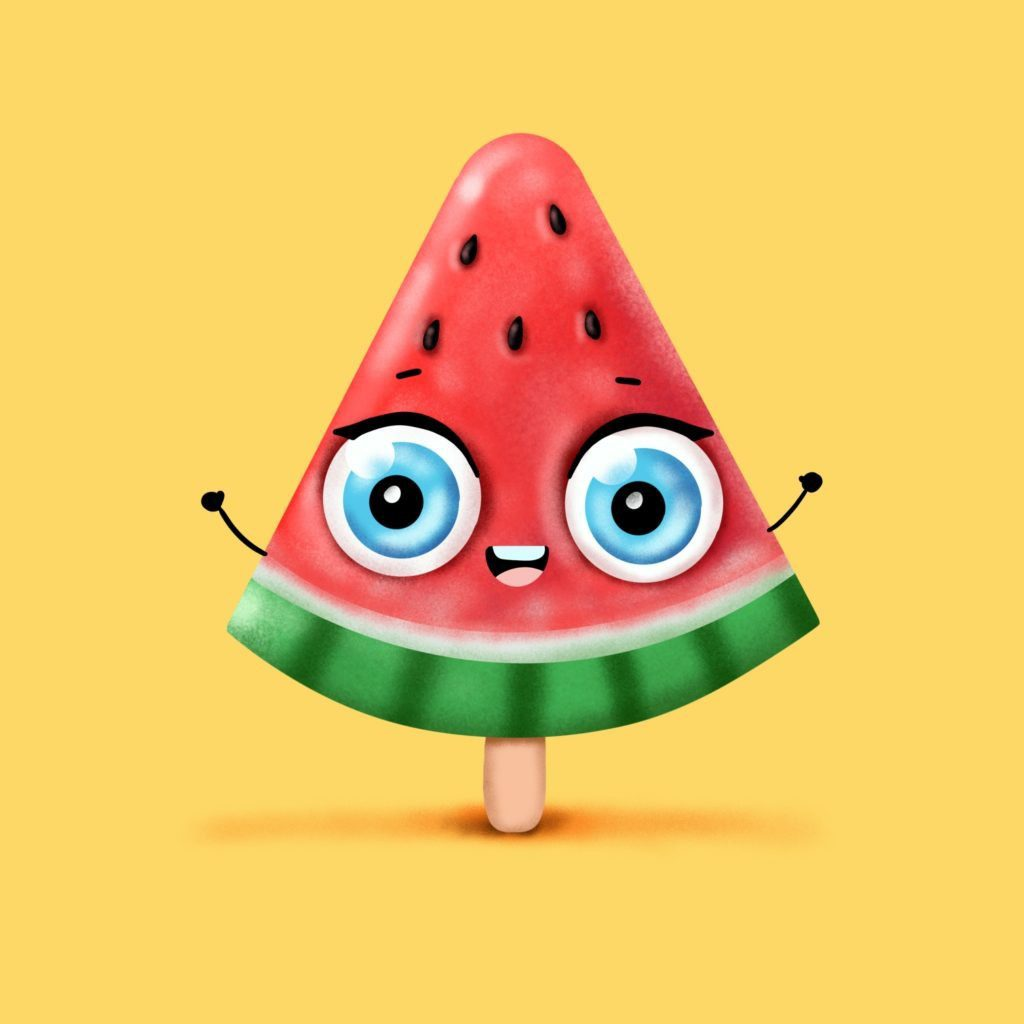Step by step drawing tutorial . How to draw a cute Watermelon popsicle