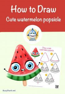 How to draw a cute cartoon kawaii Watermelon popsicle step by step drawing tutorial