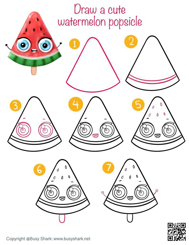 Drawing guide how to draw a cute cartoon kawaii watermelon popsicle easy