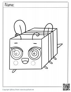 Free coloring page for a cute bee from Minecraft