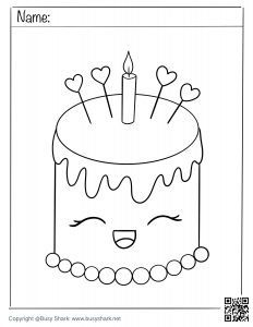 Free coloring page for a cute birthday cake