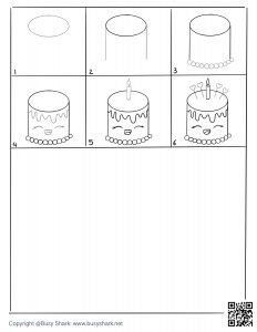 Free cute birthday cake drawing page,free download
