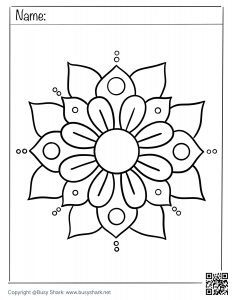 Simple mandala coloring page print and download for free