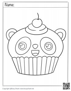 Free coloring page for a cute panda cupcake
