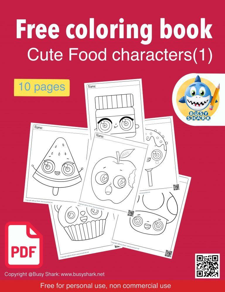 Download free printable cute food characters coloring book pdf