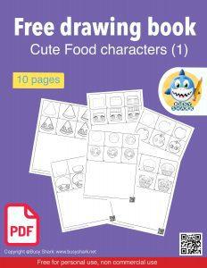 Download free printable cute food characters drawing book pdf