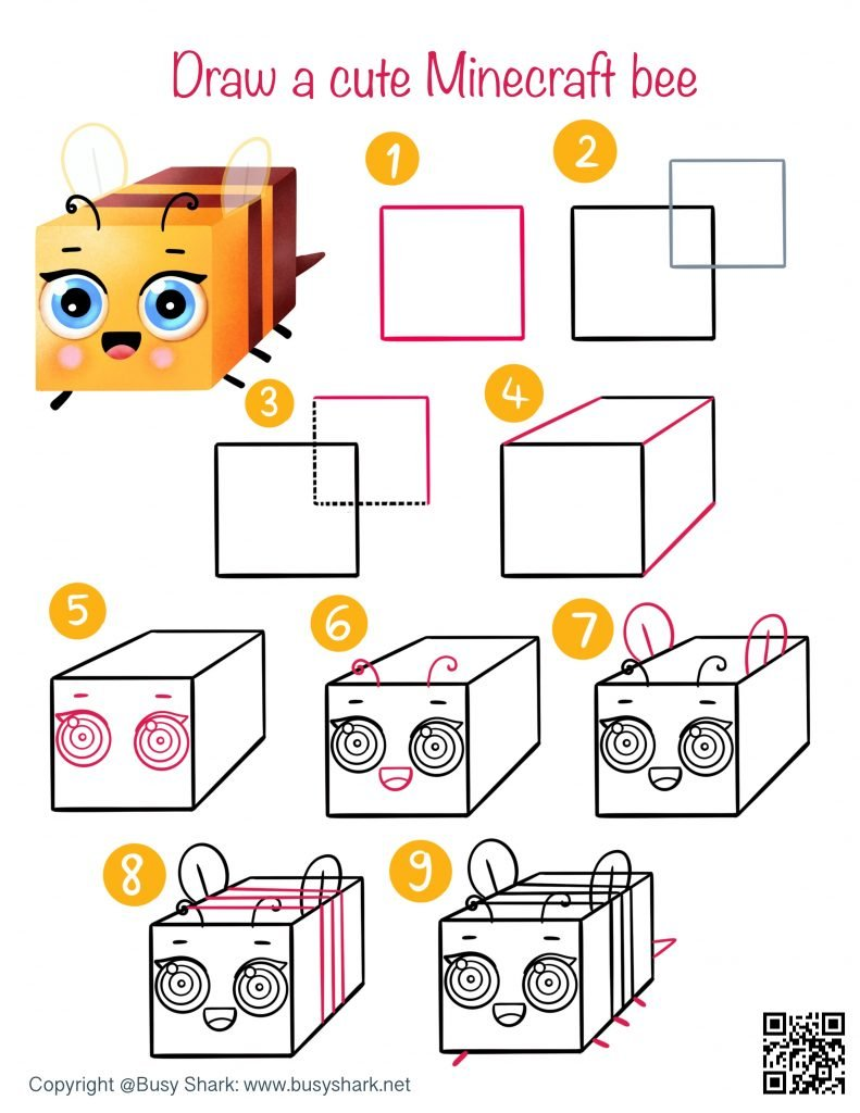 Drawing guide how to draw a cute cartoon kawaii bee from Minecraft