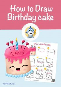 How to draw a cute cartoon kawaii Birthday cake with name step by step drawing tutorial