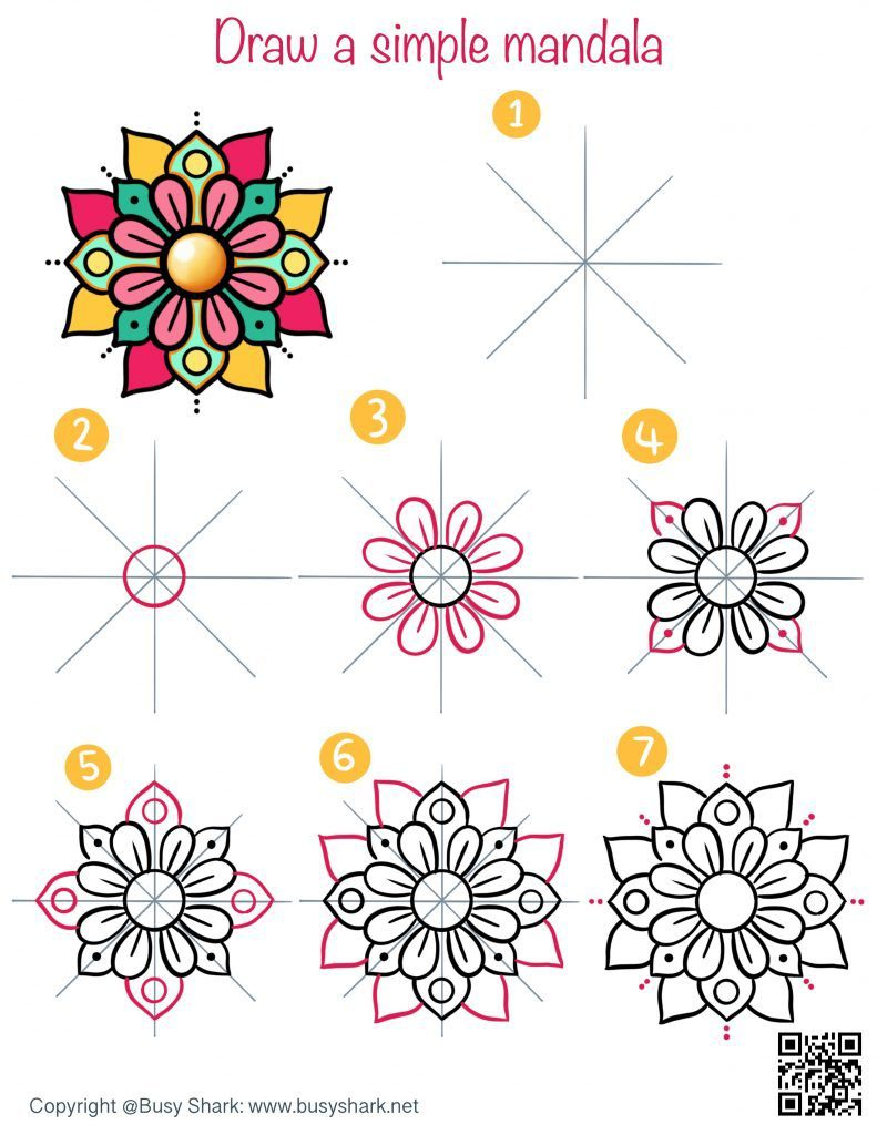 How to draw a simple and easy floral mandala