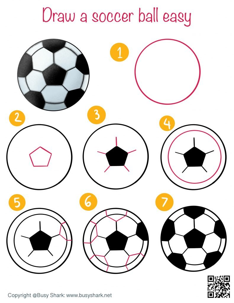 How to draw a soccer ball or football easy step by step drawing tutorial