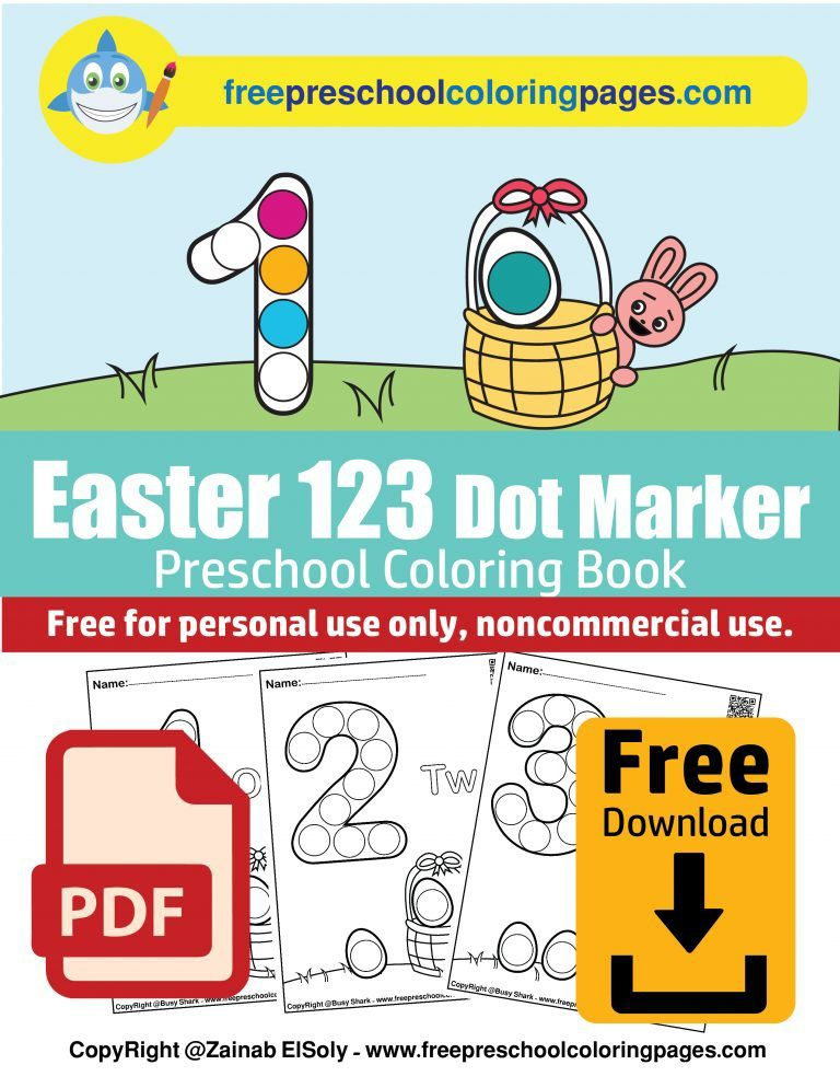 123 numbers dot easter free preschool coloring pages book counting eggs spring activity bunny rabbit with basket of eggs pdf