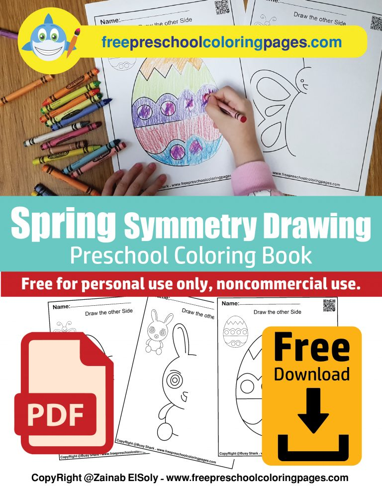 1 symmetry spring season and easter holiday draw the other side free preschool coloring pages flower ,egg,bunny,sun,ladybug,tree,butterfly pdf book download EASY guide line