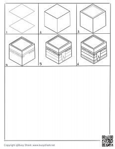 How to draw a 3D Kaaba 6 steps