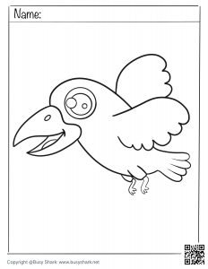 download free coloring page for a cute crow flying
