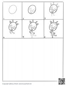 download free drawing page for a cute giraffe dancing , 6 steps