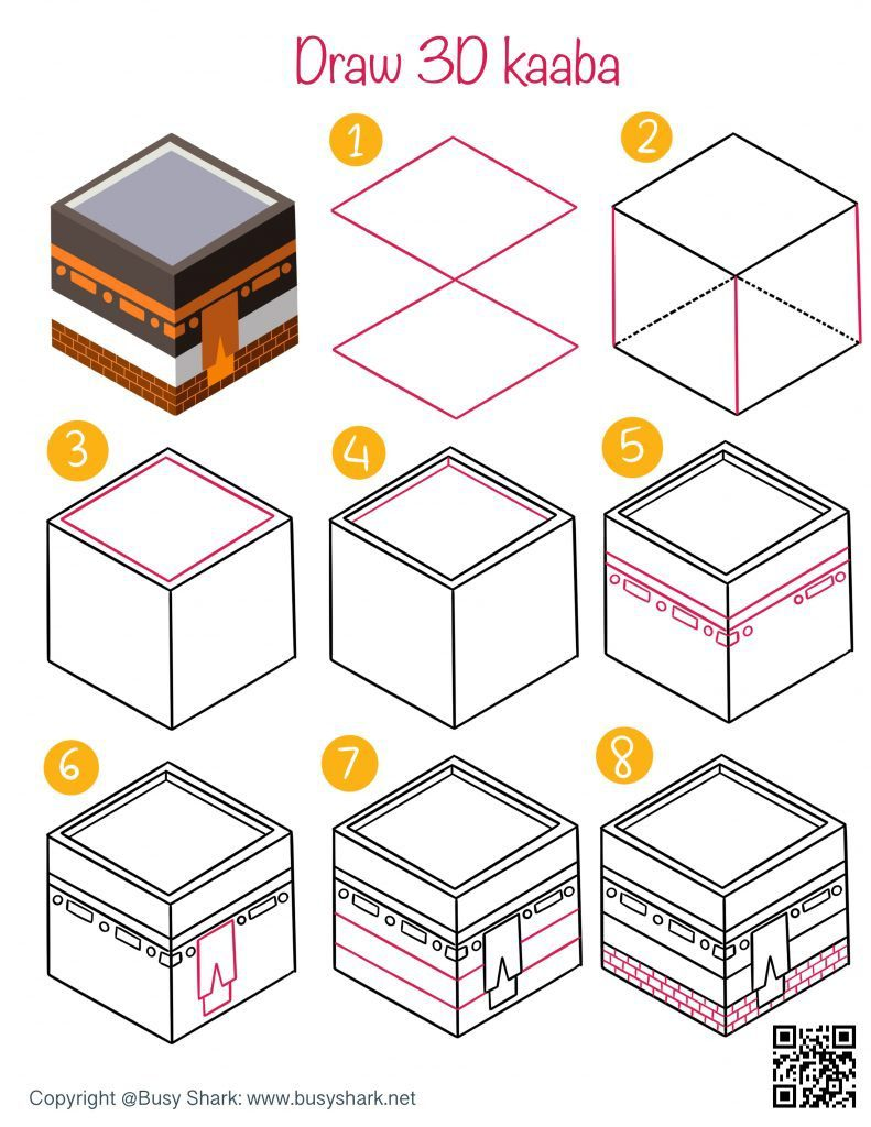 How to draw a 3D Kaaba step by step drawing tutorial