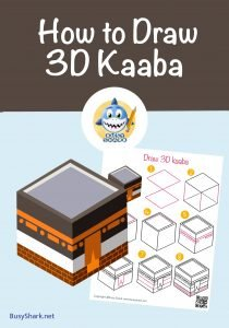 How to draw a simple and easy 3D kaaba step by step
