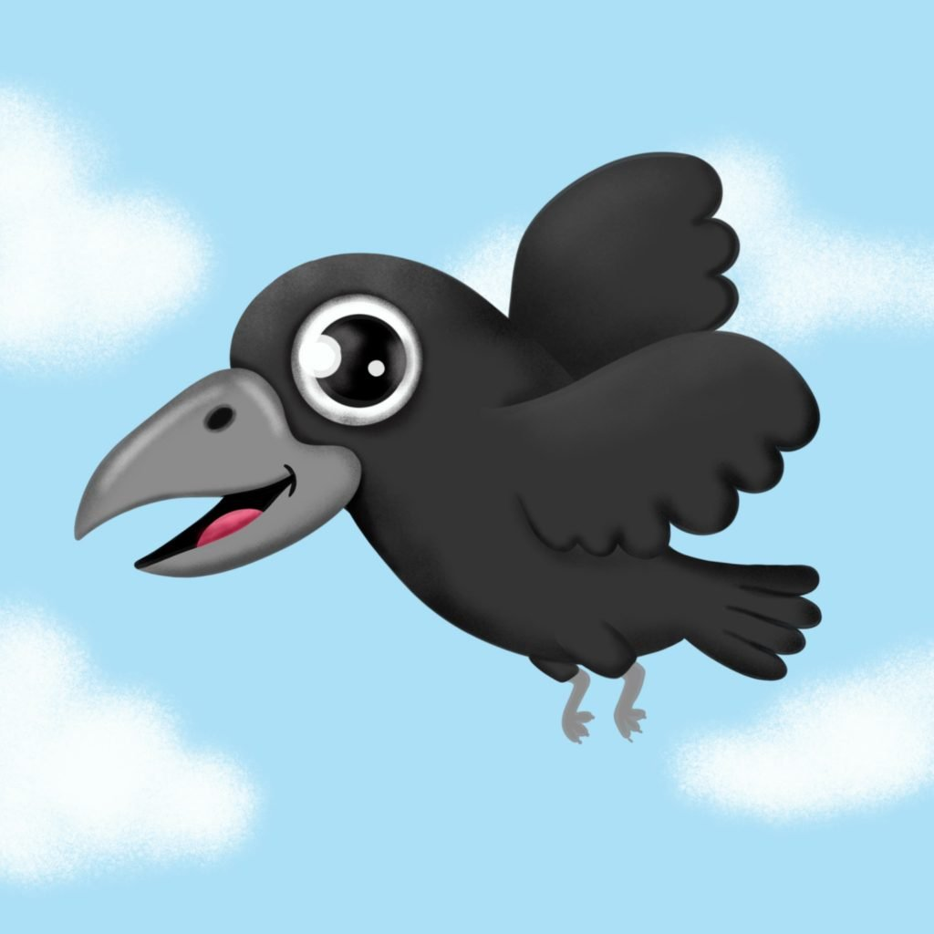 How to draw a cute crow flying easy step by step drawing tutorial