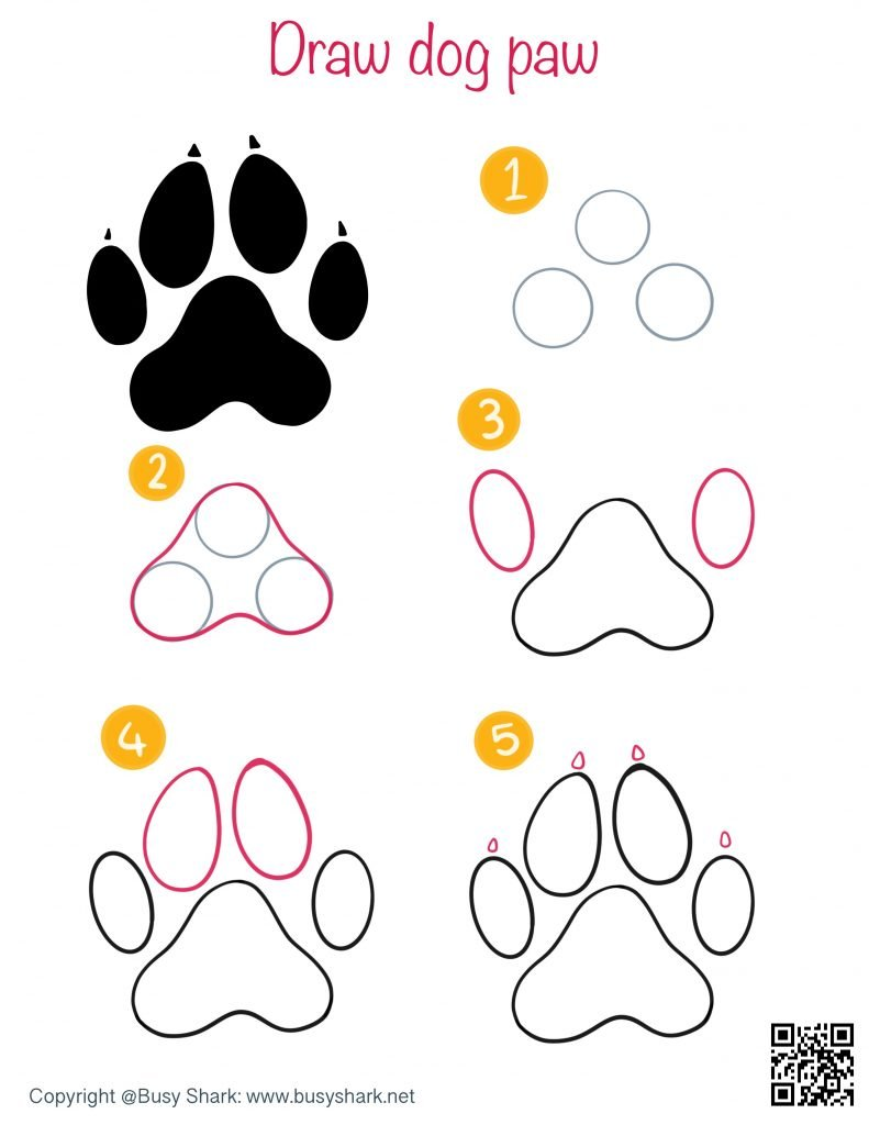 Drawing guide how to draw a dog paw print easy