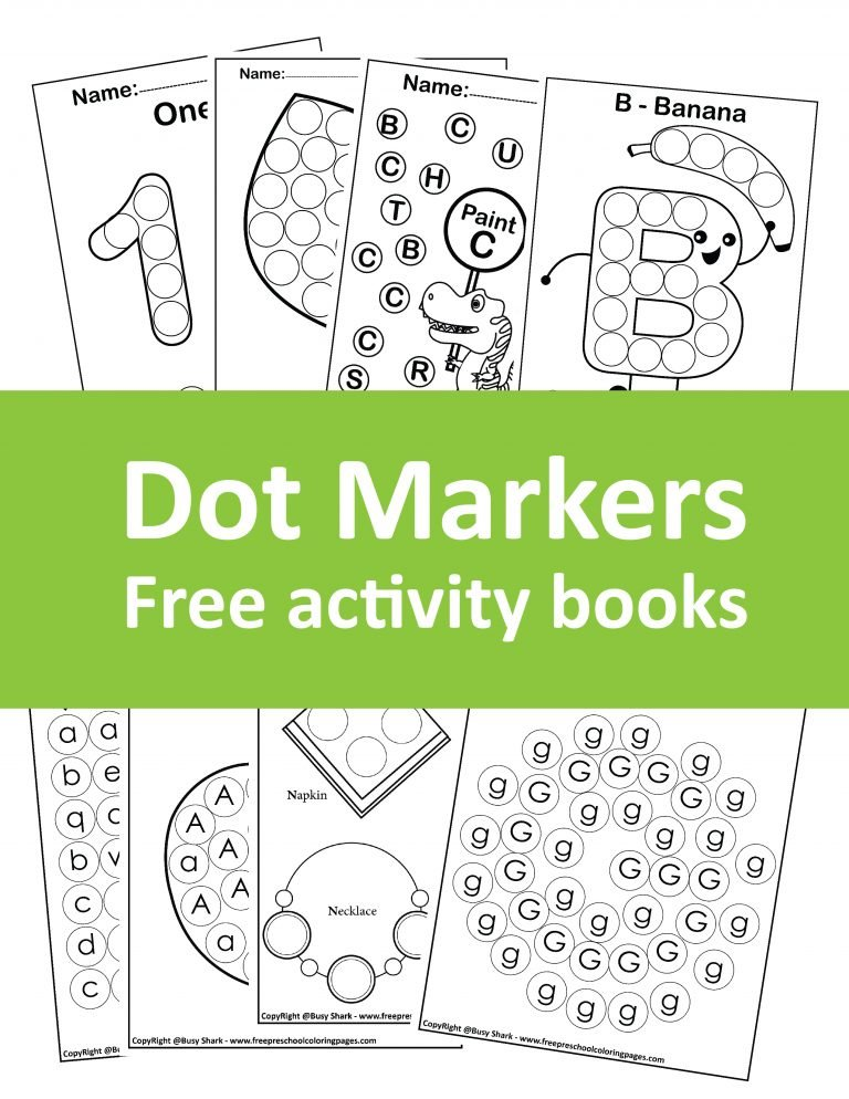free dot markers coloring books for kids, download pdf to print