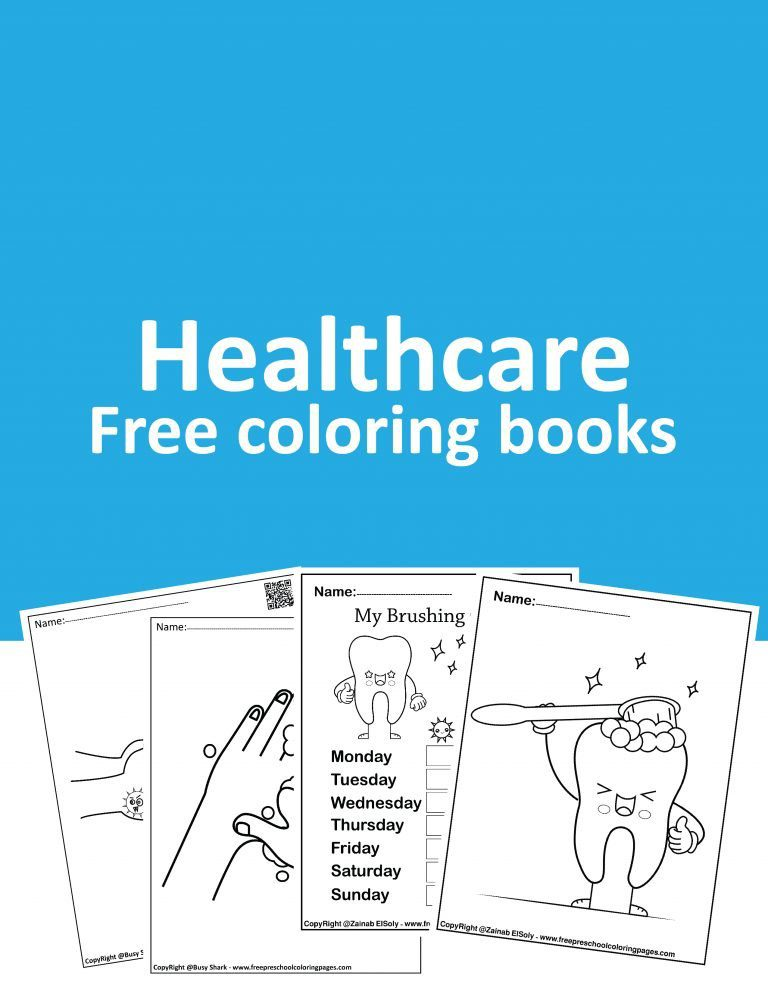 Free healthcare coloring books , download pdf books for kids.dental care and hand washing.