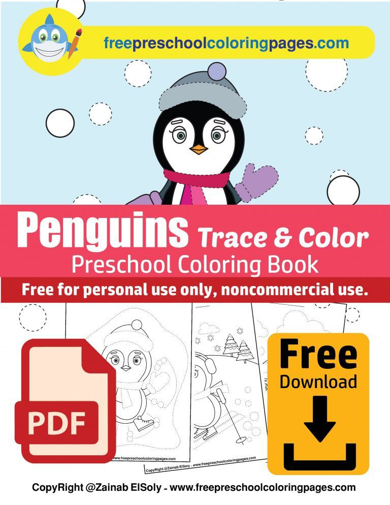 winter penguins play with snow free preschool coloring book free printable christmas tracing activity colored pdf download