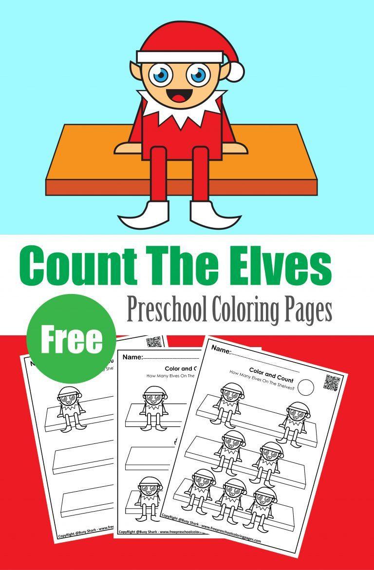 count elves elf on the shelf winter preschool coloring book free printable for kids