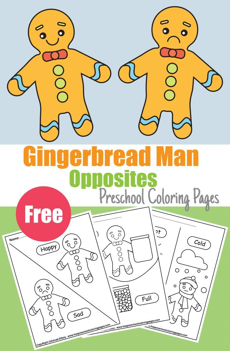 gingerbread man free preschool coloring pages free printable book pdf christmas new year activity for kids opposites activity