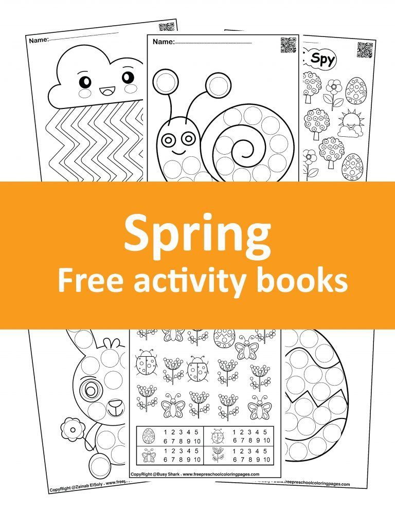 Free spring coloring books. Download many activities for toddlers like I spy , dot markers activity and fine motor skills activities.